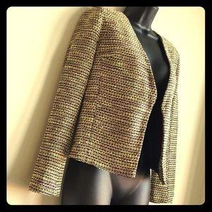 TopShop Neon Open Front Tweed Knit Blazer